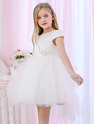 cheap -Princess / Ball Gown Medium Length Wedding / Event / Party Flower Girl Dresses - Satin / Tulle Cap Sleeve Jewel Neck with Beading / Appliques / Color Block