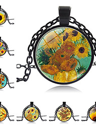 cheap -Women's Pendant Necklace Handmade Kaleidoscope Vintage Colorful Glass Alloy Black 51-80 cm Necklace Jewelry For Gift Festival