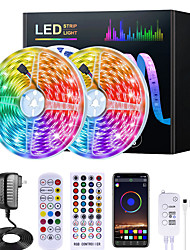 cheap -15M RGB LED Strip Lights Music Sync 12V Waterproof LED Strip 5M 10M 20M 5050 SMD Color Changing LED Light with Bluetooth Controller and 100-240V Adapter for Bedroom Home TV Back Light DIY Deco