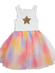 cheap -Kids Girls' Solid Colored Dress White