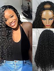 cheap -Remy Human Hair Wig Long Water Wave U Part Natural Hot Sale For Black Women U Part Brazilian Hair Women's Natural Black #1B 8 inch 10 inch 12 inch