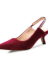 cheap -Women's Clogs & Mules Spring Fall Pumps Pointed Toe Office & Career Home Suede Black / Burgundy / Green