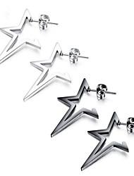 cheap -Men's Stud Earrings Geometrical Star Stylish Stainless Steel Earrings Jewelry Black / Silver For Gift Festival 1 Pair