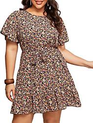 cheap -Women's A-Line Dress Short Mini Dress - Short Sleeves Floral Summer Work 2020 Rainbow XL XXL XXXL XXXXL