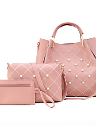 cheap -Women's Bags PU Leather Leather Bag Set 3 Pcs Purse Set Beading Daily Outdoor Bag Sets 2021 Handbags White Red Blushing Pink Brown