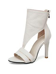 cheap -Women's Sandals Summer Stiletto Heel Open Toe Minimalism Daily Solid Colored PU White / Black / Beige