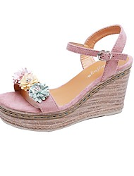 cheap -Women's Sandals Summer Wedge Heel Open Toe Daily Solid Colored PU Black / Pink / Beige