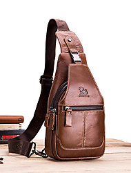 cheap -Men's Bags Nappa Leather Sling Shoulder Bag Chest Bag Zipper Holiday Outdoor Dark Brown Black
