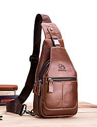 cheap -Men's Bags Nappa Leather Sling Shoulder Bag Chest Bag Zipper Holiday Outdoor MessengerBag Dark Brown Black