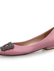 cheap -Women's Flats Spring / Fall Flat Heel Pointed Toe Wedding Party & Evening Rhinestone Satin Black / Blue / Pink