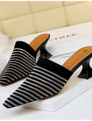 cheap -Women's Clogs & Mules / Slippers & Flip-Flops Summer Stiletto Heel Pointed Toe Daily Striped Faux Fur White / Black / Yellow