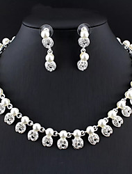 cheap -Women's White Pearl Bridal Jewelry Sets Hollow Out Flower Trendy Earrings Jewelry Silver For Wedding 1 set