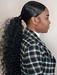 cheap -Hair weave Ponytails Women / Extention / Natural Human Hair Hair Piece Hair Extension Curly / Wavy 18 inch Daily Wear / Club / Festival