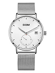 cheap -DOM Men's Steel Band Watches Quartz Sporty Casual Water Resistant / Waterproof Analog White Black Blue / Stainless Steel / Calendar / date / day