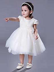 cheap -Ball Gown Royal Length Train / Medium Length Wedding / Event / Party Flower Girl Dresses - Lace Short Sleeve Jewel Neck with Belt / Beading / Flower