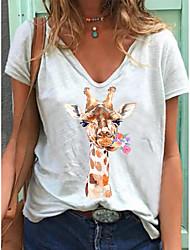 cheap -Women's T-shirt Floral Animal Flower Print V Neck Tops Loose Cotton Basic Basic Top White