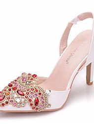 رخيصةأون -نسائي كعوب الصيف كعب ستيلتو حذاء براس مدبب مناسب للبس اليومي لون سادة PU أبيض