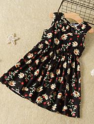 cheap -Kids Toddler Girls' Flower Cute Daisy Black Floral Print Sleeveless Knee-length Dress Black