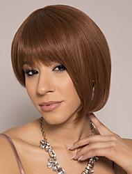 cheap -Remy Human Hair Wig Short Silky Straight Pixie Cut Brown Life Easy to Carry Women Capless Brazilian Hair Burmese Hair Women's Medium Brown#4 14 inch