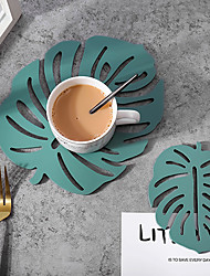 cheap -Hollow Skid Resistance Placemat Nordic Style Leaf Cup Mat Coaster Das Set For Kitchen Dinning Table Home Decoration Accessories