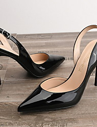 cheap -Women's Sandals Stiletto Heel Pointed Toe High Heel Sandals Daily PU Nude White Black