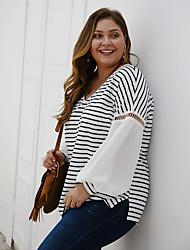 cheap -Women's Plus Size Blouse Shirt Striped Color Block Long Sleeve Patchwork V Neck Tops Basic Basic Top White