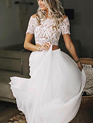 cheap -Two Piece Wedding Dresses Jewel Neck Sweep / Brush Train Chiffon Lace Short Sleeve Beach Boho Sexy See-Through with Pleats 2021