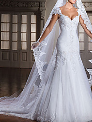 cheap -Mermaid / Trumpet Wedding Dresses V Neck Chapel Train Lace Tulle Sleeveless Formal with Ruched Beading Appliques 2021