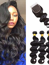 cheap -3 Bundles with Closure Hair Weaves Brazilian Hair Body Wave Human Hair Extensions Remy Human Hair 100% Remy Hair Weave Bundles 345 g Natural Color Hair Weaves / Hair Bulk Human Hair Extensions 8-20