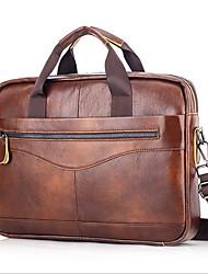 cheap -Men's Bags Cowhide Laptop Bag Briefcase Top Handle Bag Belt Zipper Handbags Daily Office & Career Black Brown Coffee
