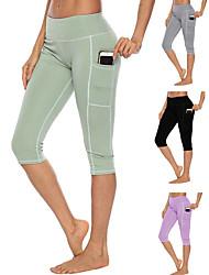 cheap -Women's High Waist Yoga Pants Multiple Pockets Capri Leggings Butt Lift 4 Way Stretch Breathable Black Light Green Light Purple Gym Workout Running Fitness Sports Activewear High Elasticity Slim