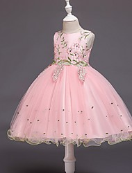 cheap -Ball Gown Knee Length Wedding / Party Flower Girl Dresses - Tulle Sleeveless Jewel Neck with Bow(s) / Beading / Appliques