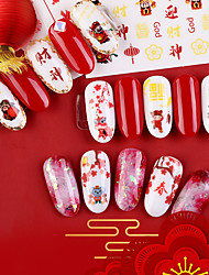 cheap -1 pcs 3D Nail Stickers Floral Theme / Butterfly nail art Manicure Pedicure Glossy / Water Resistant / Ergonomic Design Romantic / Sweet Party / Evening / Daily / Festival