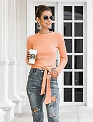 billige -Dame Ensfarvet Langærmet Pullover Sweater Jumper, Bateau-hals Vinter Sort / Orange / Beige En Størrelse