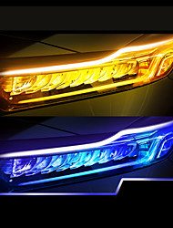 cheap -2PCS New Type Of Ultra Thin Light Guide Strip 30cm Dual Color LED Water Lamp Car Decorative Lamp White Yellow Turn Signal