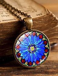 cheap -Women's Pendant Necklace Handmade Kaleidoscope Vintage Colorful Glass Alloy Bronze Silver 51-80 cm Necklace Jewelry For Gift Festival