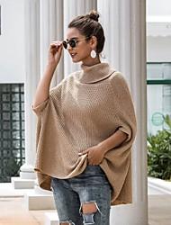 billige -Dame Ensfarvet Halvlange ærmer Kapper Sweater Jumper, Rullekrave Vinter Hvid / Sort / Kamel En Størrelse