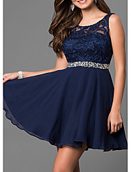 cheap -A-Line Flirty Elegant Homecoming Cocktail Party Dress Jewel Neck Sleeveless Short / Mini Chiffon Lace with Crystals 2021