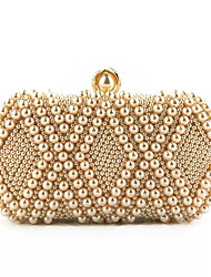 cheap -Women's Bags Polyester / Silk Evening Bag Pearls for Event / Party White / Almond / Blushing Pink / Wedding Bags