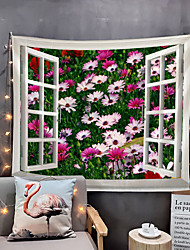 cheap -Window Landscape Wall Tapestry Art Decor Blanket Curtain Picnic Tablecloth Hanging Home Bedroom Living Room Dorm Decoration Polyester Garden Flower Rural