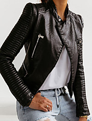 cheap -Women's Stand Collar Faux Leather Jacket Regular Solid Colored Work Black S M L XL