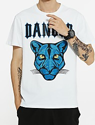 cheap -Men's Letter Animal T shirt Sequins Short Sleeve Daily Tops Cotton Basic Exaggerated Round Neck White Black