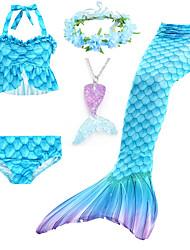 cheap -Kids Girls' Swimwear Bikini 5pcs Swimsuit Mermaid Tail Drawstring Halter Swimwear Color Block Princess Sleeveless Blue Fuchsia Party Beach Active Costumes Cute Bathing Suits 3-10 Years