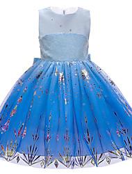 cheap -Princess Elsa Dress Flower Girl Dress Girls' Movie Cosplay A-Line Slip Vacation Dress Blue Dress Christmas Halloween Children's Day Polyester