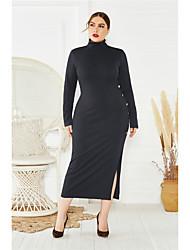 cheap -Women's Sheath Dress Midi Dress - Long Sleeve Solid Color Split Fall Sexy 2020 Wine Black Blue XL XXL XXXL XXXXL XXXXXL