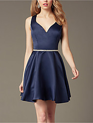 cheap -A-Line Flirty Minimalist Homecoming Cocktail Party Dress Sweetheart Neckline Sleeveless Short / Mini Stretch Satin with Sash / Ribbon Crystals 2020