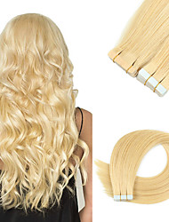 cheap -Tape In Hair Extensions Remy Human Hair Skin Wefts 20pcs 50 g Pack Straight Black 16-24 inch Hair Extensions