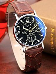 preiswerte -Herrn Uhr Kleideruhr Quartz Stilvoll Leder Braun Höhenmesser Analog Freizeit Rot + braun Weiß Schwarz / Ein Jahr