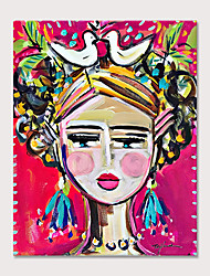 cheap -Painted Modern Abstract Pink Cute Girl Oil Painting on Canvas Handmade Abstract People Wall Art for Decor Rolled Canvas Rolled Without Frame