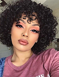 cheap -Synthetic Hair Wig Short Curly Loose Curl With Bangs Natural Black Women Easy dressing Designers Machine Made Capless Brazilian Hair Women's Girls' Natural Black #1B 8 inch
